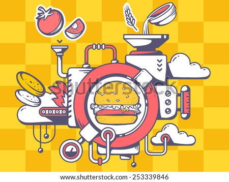 Vector illustration of mechanism to make big burger and eatable icons on pattern background. Line art design for web, site, advertising, banner, poster, board and print. - stock vector