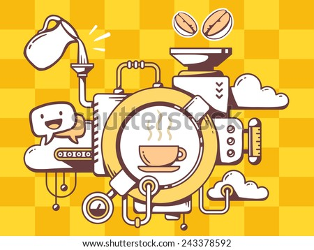 Vector illustration of mechanism to make coffee and relevant icons on pattern background. Line art design for web, site, advertising, banner, poster, board and print. - stock vector