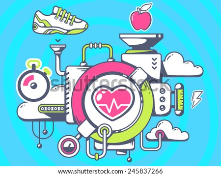Vector illustration of mechanism to training heart and relevant icons on blue background. Line art design for web, site, advertising, banner, poster, board and print. - stock vector