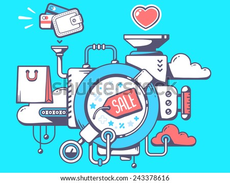 Vector illustration of mechanism with label sale and shopping icons on blue background. Line art design for web, site, advertising, banner, poster, board and print. - stock vector