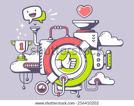 Vector illustration of mechanism with label thumb up and relevant icons on light background. Line art design for web, site, advertising, banner, poster, board and print. - stock vector