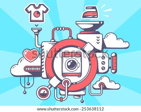Vector illustration of mechanism with washing machine and relevant icons on blue background. Line art design for web, site, advertising, banner, poster, board and print. - stock vector