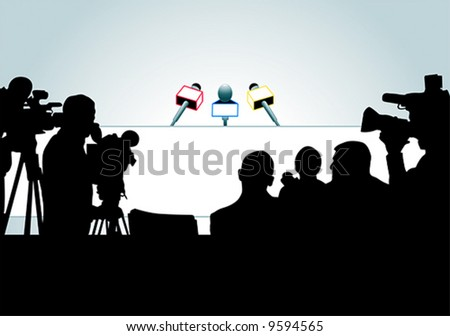 vector illustration of media people ready for press conference (an each person is on the separate layer). - stock vector