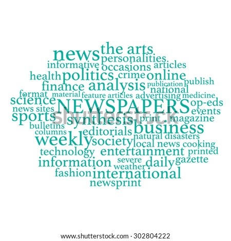Vector illustration of media tags related to newspapers. - stock vector