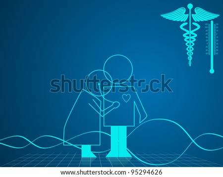 Vector illustration of medical and health care background with medical symbol on blue. - stock vector