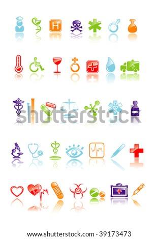 Vector illustration of medical icon set - stock vector