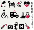 Vector illustration of medical icons. - stock photo
