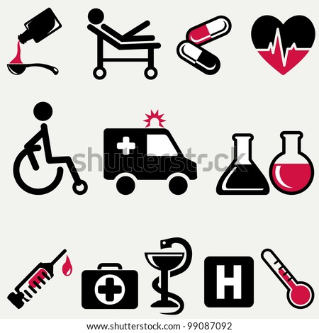 Vector illustration of medical icons. - stock vector