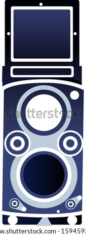 Vector illustration of medium format twin lens reflex camera - stock vector