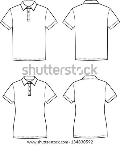 Vector illustration of men's and women's polo t-shirts. Front and back views - stock vector