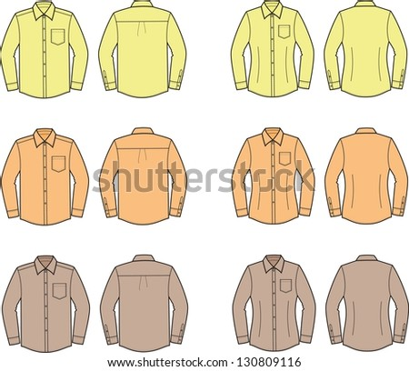 Vector illustration of men's and women's shirts. Front and back views. Different colors. - stock vector