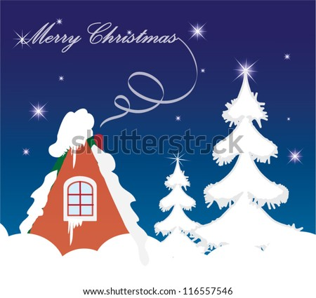 Vector illustration of Merry Christmas greeting card, cute cozy house and winter scenery - stock vector
