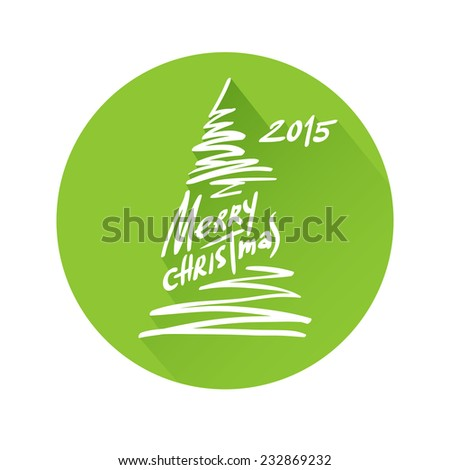 Vector illustration of Merry christmas lettering in round isolated on white background. 2015 xmas text and image of fir (flat style with long shadow).   - stock vector