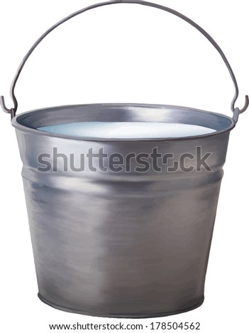 Vector illustration of Metallic bucket with milk isolated on white background - stock vector