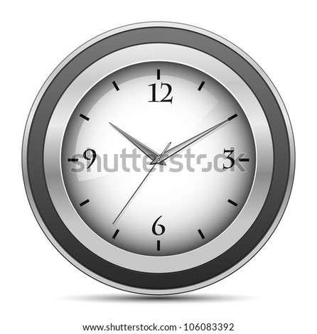 Vector illustration of metallic office clock - stock vector