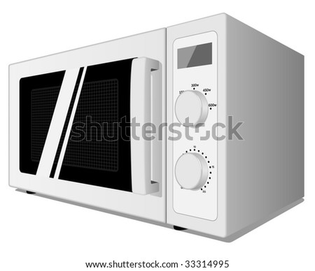 Vector illustration of microwave oven isolated on white background. - stock vector