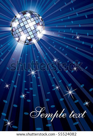 Vector illustration of mirror disco ball on blue background - stock vector