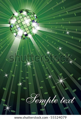 Vector illustration of mirror disco ball on green background - stock vector