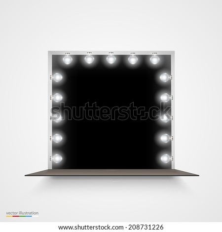 Vector Illustration of mirror with bulbs for makeup. Background Frame. - stock vector