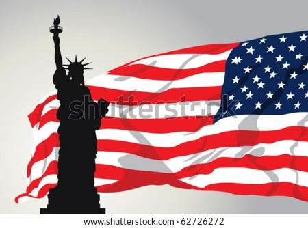 Vector Illustration of Miss Liberty with American Flag. - stock vector