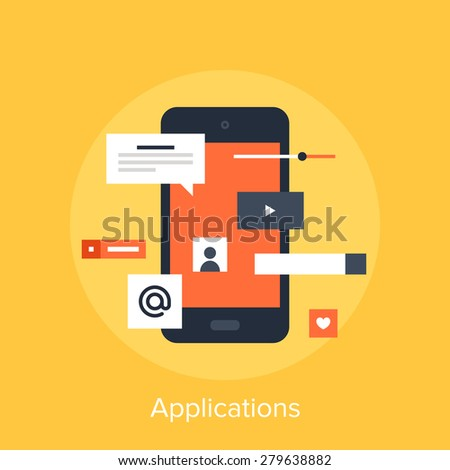 Vector illustration of mobile applications flat design concept. - stock vector