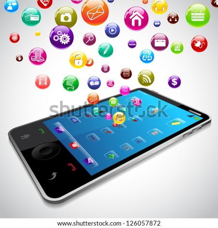 vector illustration of Mobile Phone Application coming out of screen - stock vector