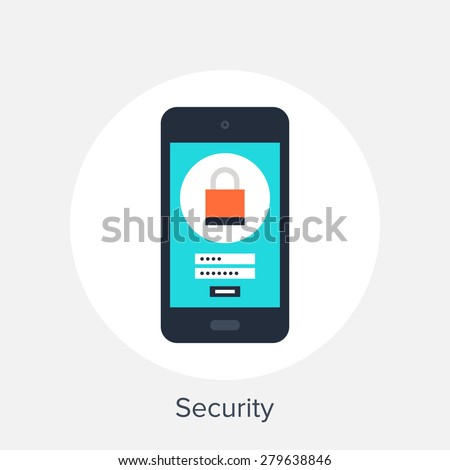 Vector illustration of mobile security flat design concept. - stock vector
