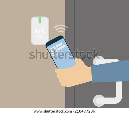 Vector illustration of mobile unlocking a door via smartphone. - stock vector