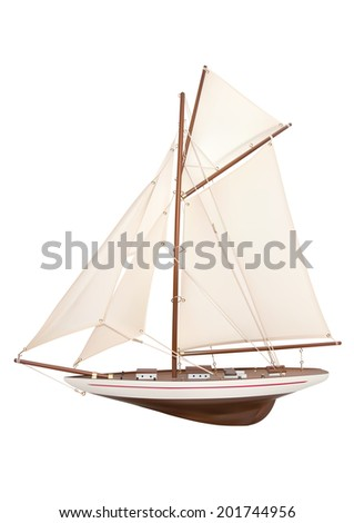 Vector illustration of model single-masted sailing classic yacht - stock vector