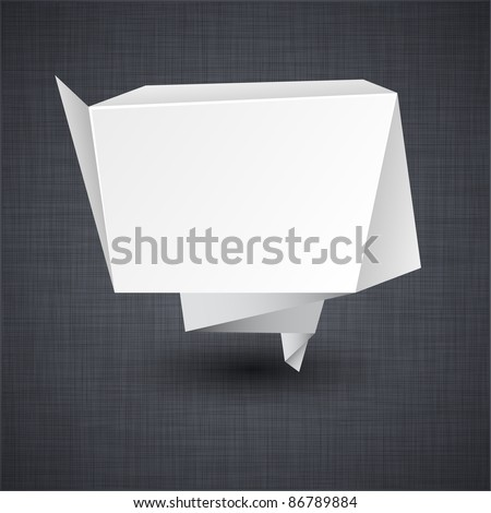 Vector illustration of modern advertisement paper origami label over linen texture. - stock vector