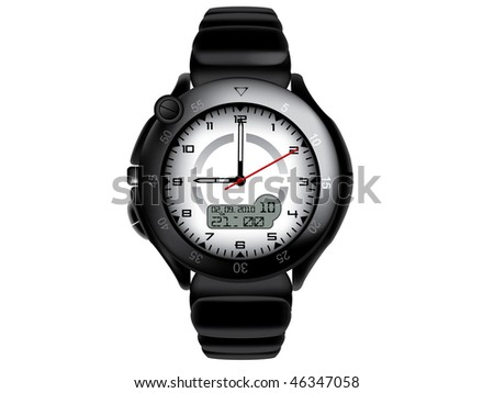 Vector illustration of modern and sport wristwatch - stock vector