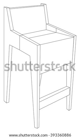Vector illustration of modern and wooden chair