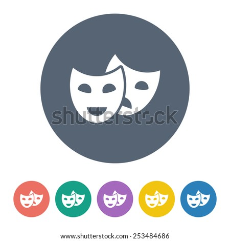 vector illustration of modern b lack icon mask movie - stock vector