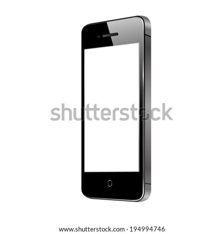 vector illustration of modern black phone on white background - stock vector
