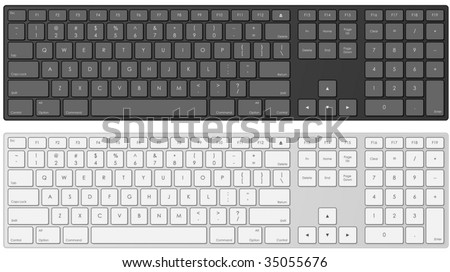 Vector illustration of modern computer keyboard in white and black color.