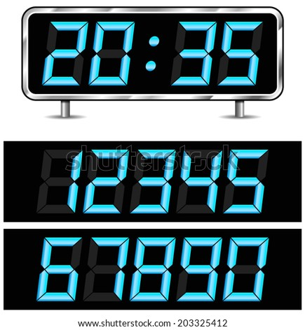 Vector illustration of modern digital clock with numbers isolated