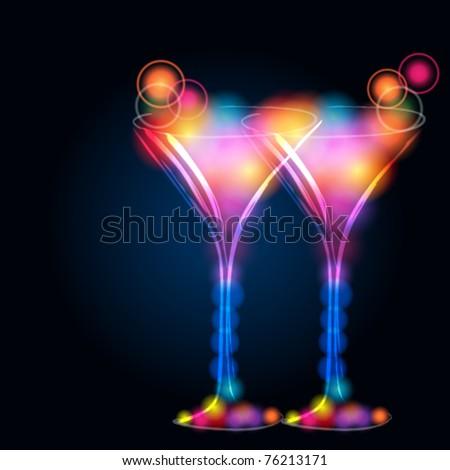 Vector illustration of modern, elegant, glittering cocktail glasses - stock vector