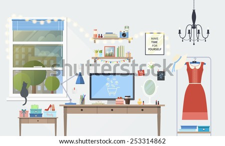 Vector illustration of modern girl workplace in room. Creative office workspace of blogger with elements, objects. items, equipment. Flat minimalistic style, modern colors, icons collection. - stock vector