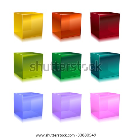 Vector Illustration of modern glass cubes in different colors. - stock vector