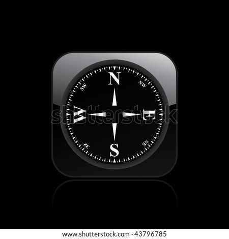 Vector illustration of  modern glossy black icon depicting a minimal compass - stock vector