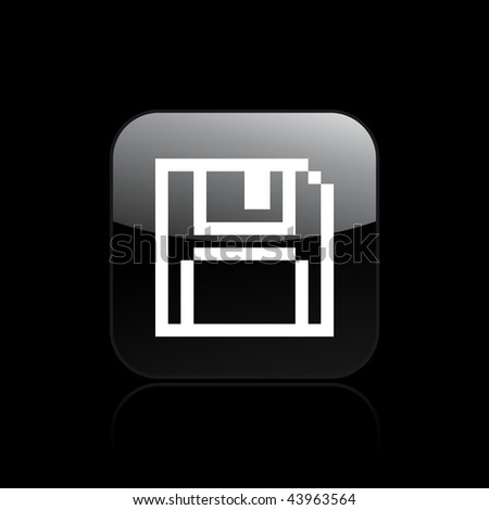 Vector illustration of modern glossy black icon depicting a pixel icon - stock vector