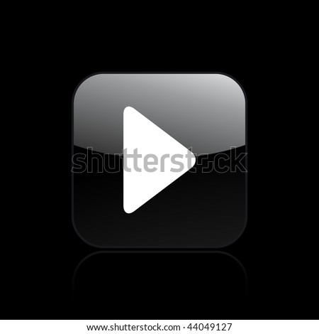 Vector illustration of modern glossy black icon depicting a play symbol - stock vector