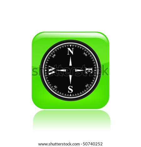 Vector illustration of modern glossy green  icon depicting a compass