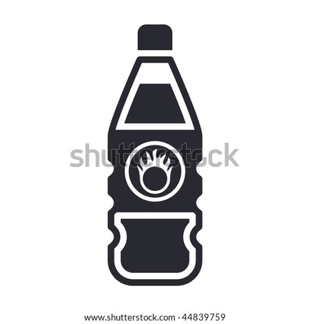 Vector illustration of modern icon depicting a bottle containing liquid dangerous, with symbol oxidizing - stock vector