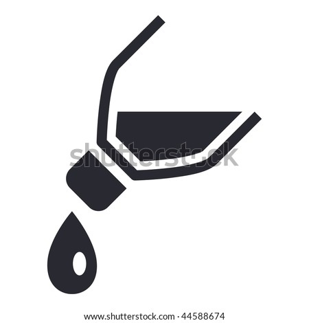 Vector illustration of modern icon depicting a bottle pouring liquid - stock vector