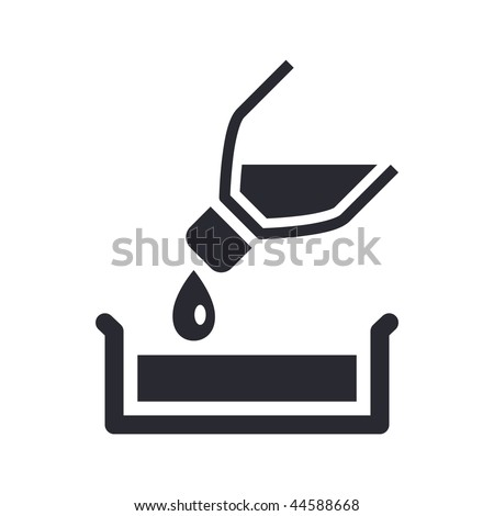 Vector illustration of modern icon depicting a bottle pouring liquid into a container - stock vector