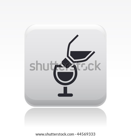 Vector illustration of modern icon depicting a bottle pouring liquid into a glass - stock vector