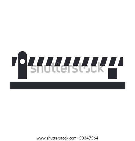 Vector illustration of modern icon depicting closed level crossing on the road - stock vector