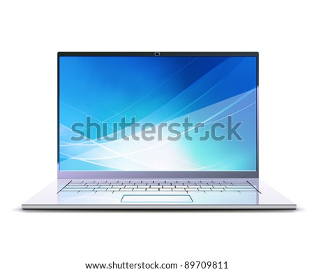 Vector illustration of  modern laptop - stock vector