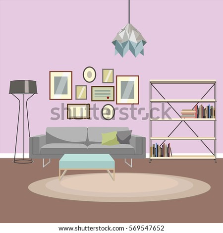 Vector Illustration Modern Living Room Creative Stock Photo (Photo ...